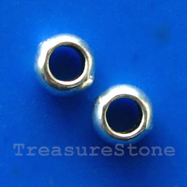 Bead, silver-finished, 2x5/2mm. Pkg of 30.