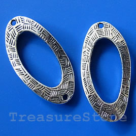 Bead, antiqued silver-finished, 18x36/11x23mm. Pkg of 4.