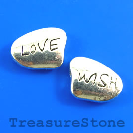 "Bead, antiqued silver-finished, 13x18mm ""Love Wish"". Pkg of 4."