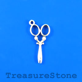 Charm, silver-plated, 13x27mm scissors. Pkg of 10.