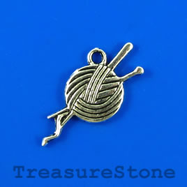 Charm/pendant, silver-plated, 22mm yarn & needle. Pkg of 8.