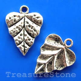 Pendant/charm, silver-finished,18x21mm leaf. Pkg of 6.