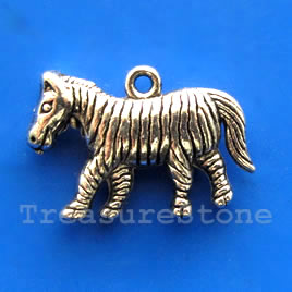 Pendant/charm, silver-finished,17x24mm zebra. Pkg of 3.