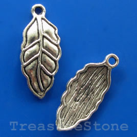 Pendant/charm, silver-finished,11x21mm leaf. Pkg of 12.