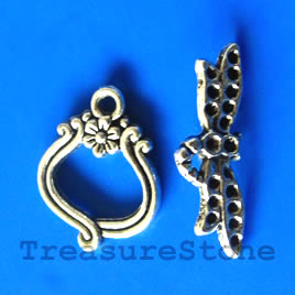 Clasp, toggle, antiqued silver-finished, 17/25mm. Pkg of 5.