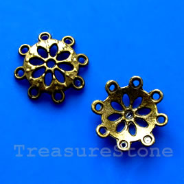 Bead cap, antiqued brass finished, 4x15mm. Pkg of 10.