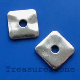 Bead, antiqued silver-finished, 22/6mm. Pkg of 2.
