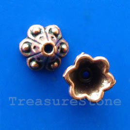 Bead cap, copper-finished, 9mm, Nickel Free. Pkg of 16.