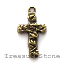 Pendant/charm, brass-finished, 13x20mm cross. Pkg of 12.