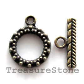 Clasp, toggle, antiqued brass-finished, 15mm. Pkg of 5.