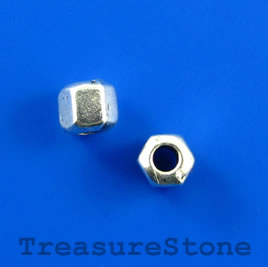Bead, silver-finished, 5mm faceted tube. Pkg of 20.