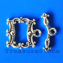 Clasp, toggle, antiqued silver-finished, 18/22mm. Pkg of 5.