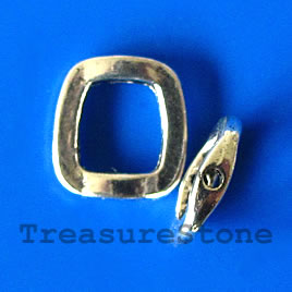 Bead frame,antiqued Silver Finished, 15x16mm. Pkg of 6