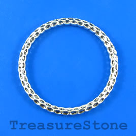 Bead, silver-finished, 54mm circle. Pkg of 3.