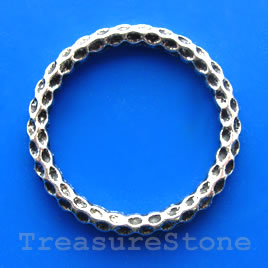 Bead, silver-finished, 38mm circle. Pkg of 3.