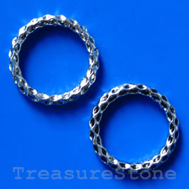 Bead, antiqued silver-finished, 24mm circle. Pkg of 6.