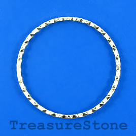 Bead, silver-finished, 44mm circle. Pkg of 4.