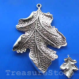 Pendant, silver-finished, 50x62mm leaf. Sold individually.