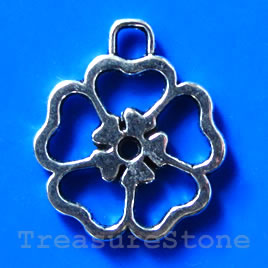 Pendant/charm, silver-finished, 24mm flower. Pkg of 3.