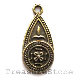 Pendant/charm, brass-finished, 11x22mm. Pkg of 8.