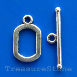 Clasp, toggle, antiqued silver-finished, 13x18mm. Pkg of 6.