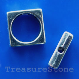 Bead frame, antiqued silver-finished, 10mm. Pkg of 12.