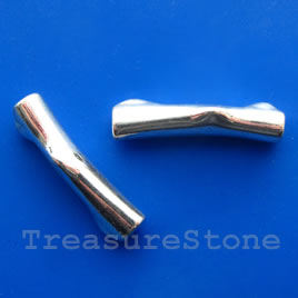 Bead, silver-finished, 10x40mm shaped tube. Pkg of 2.