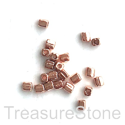 Bead, rose gold finished, 2x3mm square tube. Pkg of 30