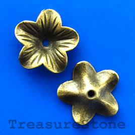 Pendant/charm, brass-finished, 18mm flower. Pkg of 6.