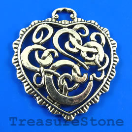 Pendant, 37mm filigree heart. Pkg of 2.