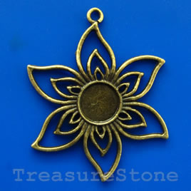 Pendant/charm, brass-finished, 38mm flower. Pkg of 2.