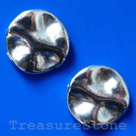 Bead, antiqued silver-finished, 22mm. Pkg of 3.