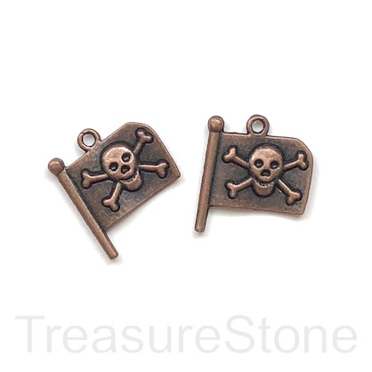 Charm, pendant, 18x20mm pirate flag, skull with crossbones. 4pcs