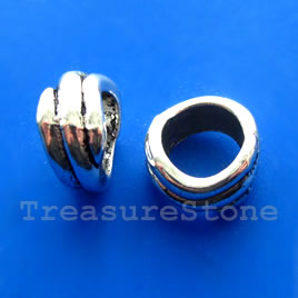Bead, silver-finished, large hole, 8x14mm ring. Pkg of 6.