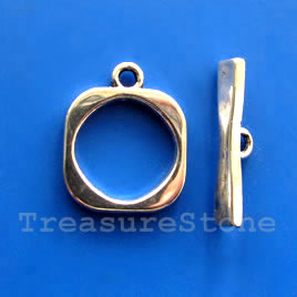 Clasp, toggle, antiqued silver-finished, 18/24mm. Pkg of 5.