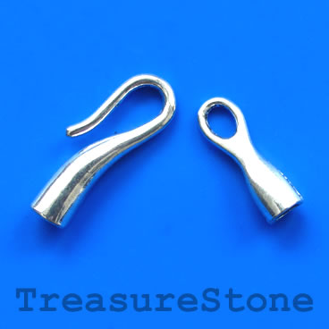 Clasp, hook-and-eye, silver-finished, 8x50mm. Pkg of 4.