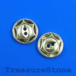 Bead, silver-colored, 16mm button. Pkg of 6.