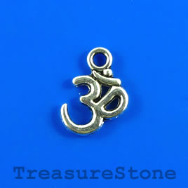 Charm/pendant, silver-plated, 12mm Aum symbol. Pkg of 11.
