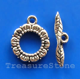 Clasp, toggle, antiqued silver-finished, 17/24mm. Pkg of 5.