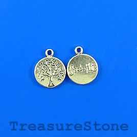Charm,silver-plated, 12mm Tree of Life, Beads of Life. Pkg of 12