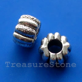 Bead, silver-finished, 12x8mm, large hole, 5mm. Pkg of 6.