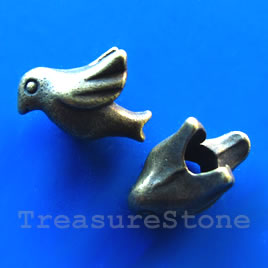 Bead, brass finished-nickel free, large hole, 16x10mm bird. 6pcs