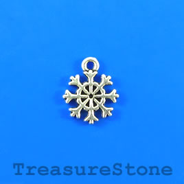 Charm, silver-plated, 11mm snowflake. Pkg of 12.
