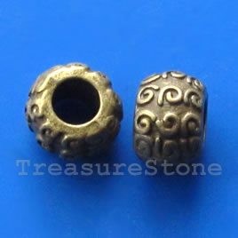 Bead, brass finished, 8x11mm, large hole: 5mm. Pkg of 8.
