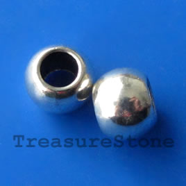 Bead, silver-finished, 11x9mm, large hole, 6mm. Pkg of 5.
