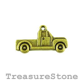 Pendant/charm, silver-finished, 14x26mm pickup truck. Pkg of 9