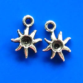 Charm, silver-finished sun, 11mm. Pkg of 12.