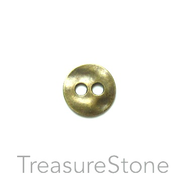 Bead, brass-colored, 10x15mm button. Pkg of 20.