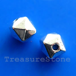 Bead, antiqued silver-finished, 5mm faceted. Pkg of 20.
