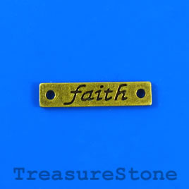 "Charm/link, brass-colored, 6x25mm ""faith"". Pkg of 10."